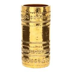 Aldo Londi Bitossi Vase, Ceramic, Gold Metallic, Signed