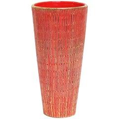 Aldo Londi Bitossi Vase, Ceramic Orange and Gold Seta, Signed