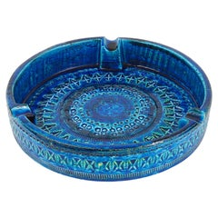 Aldo Londi Bitossi Very Large Round Rimini Blue Glazed Midcentury Ashtray, 1950s