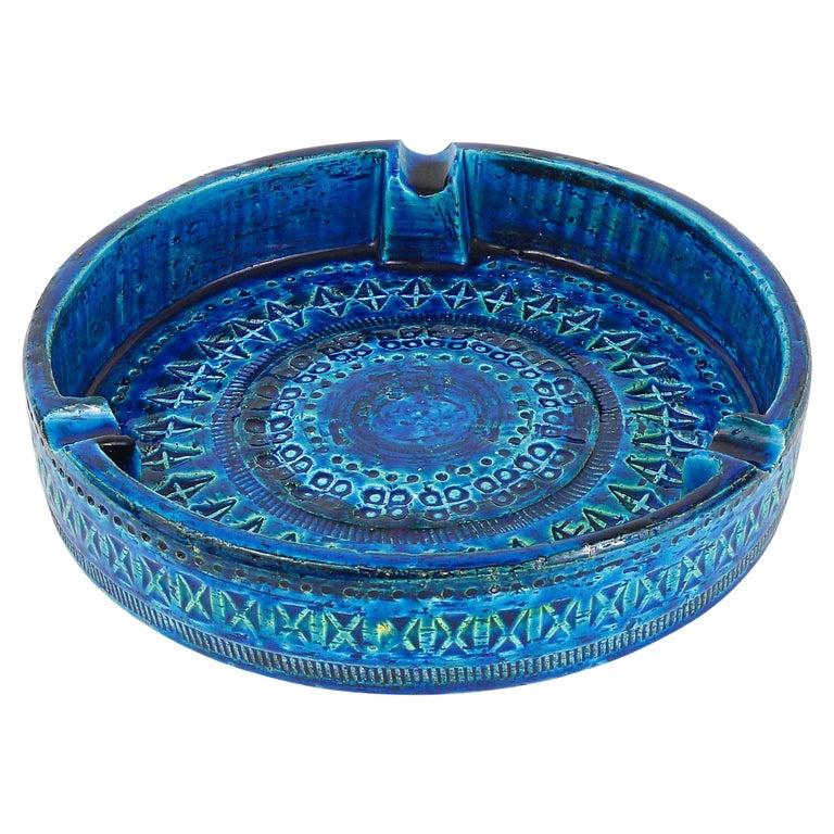 Aldo Londi Bitossi Very Large Round Rimini Blue Glazed Midcentury Ashtray, 1950s For Sale