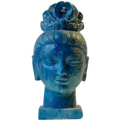 Aldo Londi Buddha Bust of Guanyin in Blue Cinese Glaze, Bitossi, 1960s