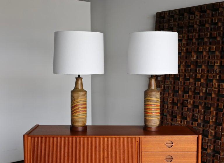 Aldo Londi ceramic table lamps for Bitossi, circa 1960.