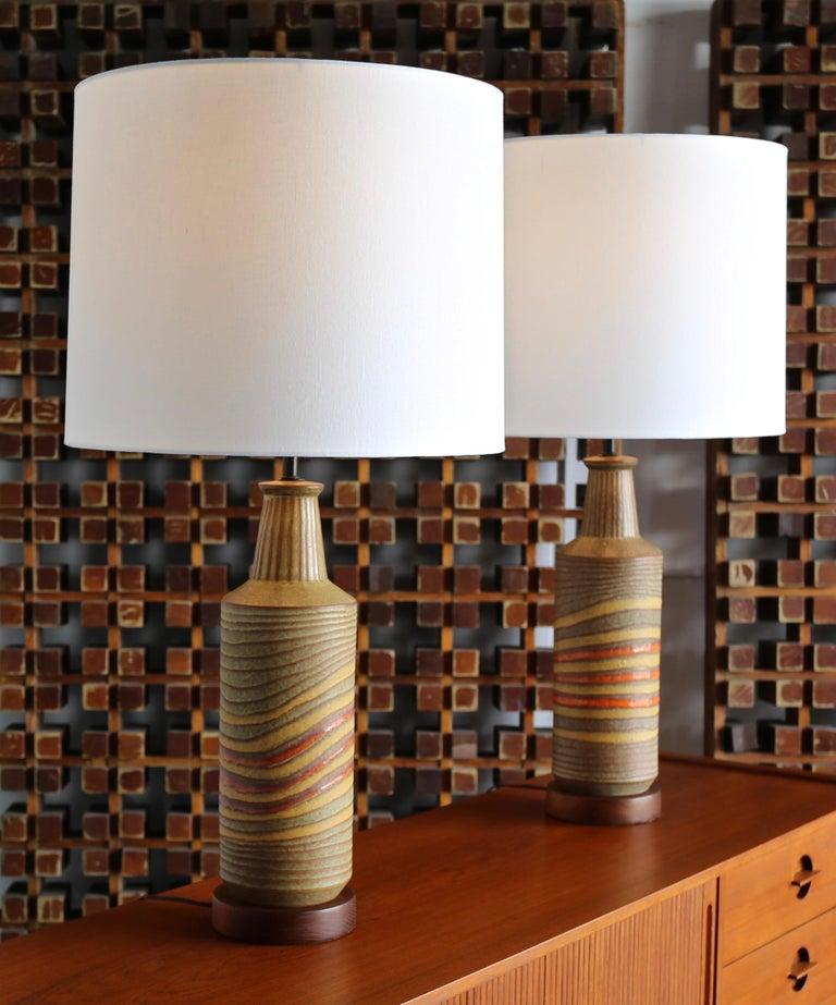 Italian Aldo Londi Ceramic Table Lamps for Bitossi, circa 1960 For Sale
