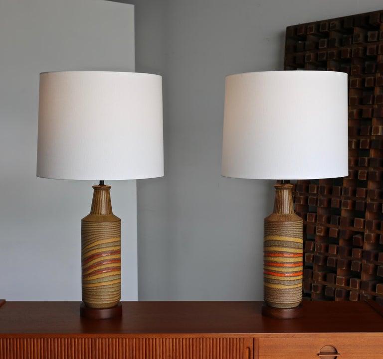 Aldo Londi Ceramic Table Lamps for Bitossi, circa 1960 In Good Condition For Sale In Costa Mesa, CA