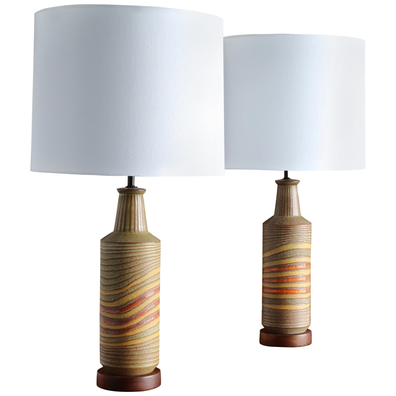 Aldo Londi Ceramic Table Lamps for Bitossi, circa 1960
