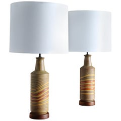 Aldo Londi Ceramic Table Lamps for Bitossi, circa 1960