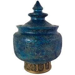 Aldo Londi Chinese Modern Lidded Vessel for Rosenthal Netter Bitossi Italy 1960s