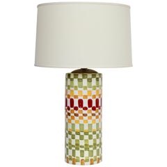 "Aldo Londi Colorful Hand Painted ""Patchwork"" Ceramic Table Lamp, 1960s"