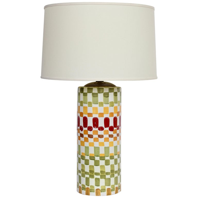 "Aldo Londi Colorful Hand Painted ""Patchwork"" Ceramic Table Lamp, 1960s For Sale"