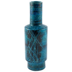 Aldo Londi for Bitossi Blue and Black Cylindrical Vase, circa 1960s