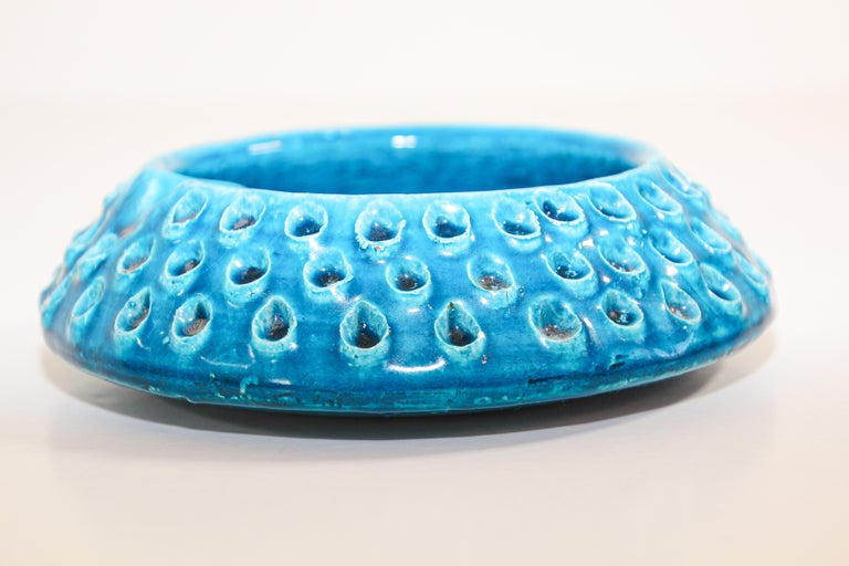 Aldo Londi for Bitossi Blue Ceramic Ashtray Handcrafted in Italy For Sale 4