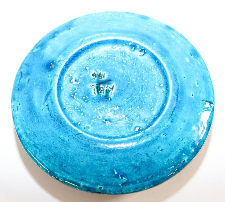 20th Century Aldo Londi for Bitossi Blue Ceramic Ashtray Handcrafted in Italy For Sale