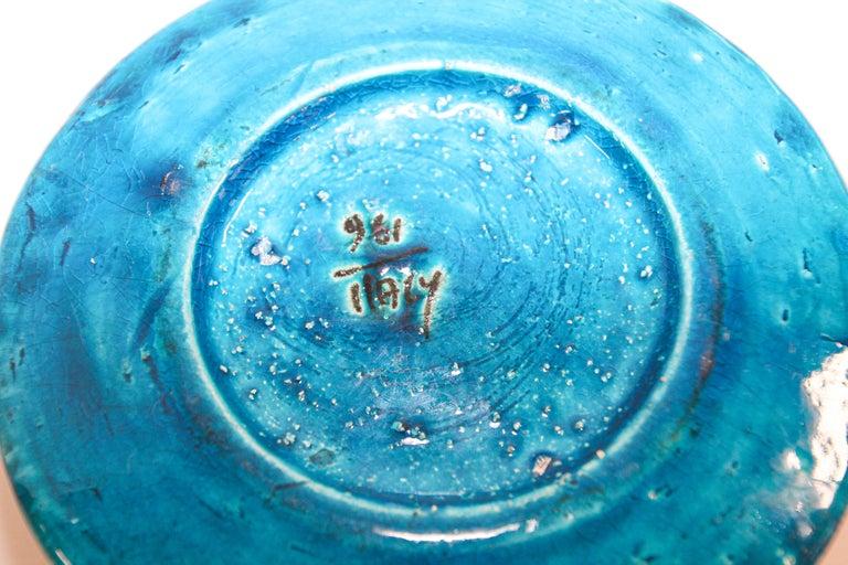 Stoneware Aldo Londi for Bitossi Blue Ceramic Ashtray Handcrafted in Italy For Sale