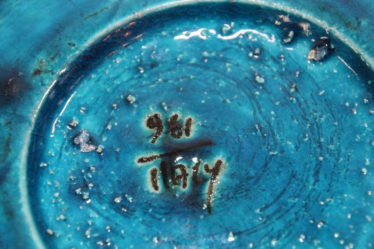 Aldo Londi for Bitossi Blue Ceramic Ashtray Handcrafted in Italy For Sale 1