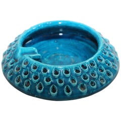 Aldo Londi for Bitossi Blue Ceramic Ashtray Handcrafted in Italy
