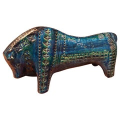 Aldo Londi for Bitossi Blue Ceramic Bull