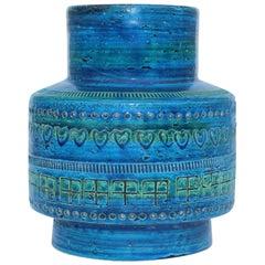 Aldo Londi For Bitossi Blue Ceramic Vase