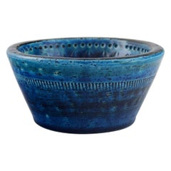 Aldo Londi for Bitossi. Bowl in Rimini-Blue Glazed Ceramics, 1960's