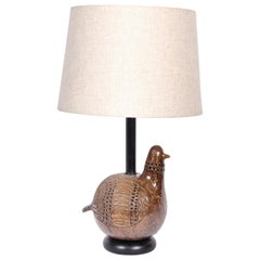 "Aldo Londi for Bitossi Incised ""Partridge"" Ceramic Table Lamp, 1960s"