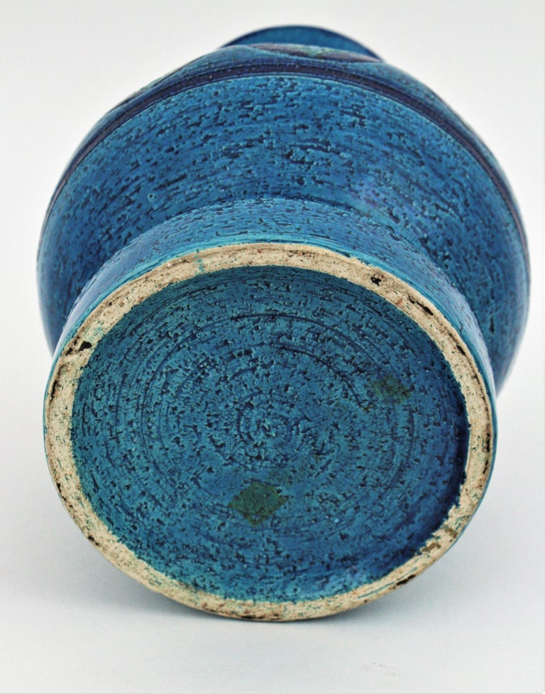 Aldo Londi for Bitossi Circles & Rhombus Design Blue Ceramic Footed Vase, 1960s For Sale 3