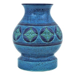 Aldo Londi for Bitossi Circles & Rhombus Design Blue Ceramic Footed Vase, 1960s