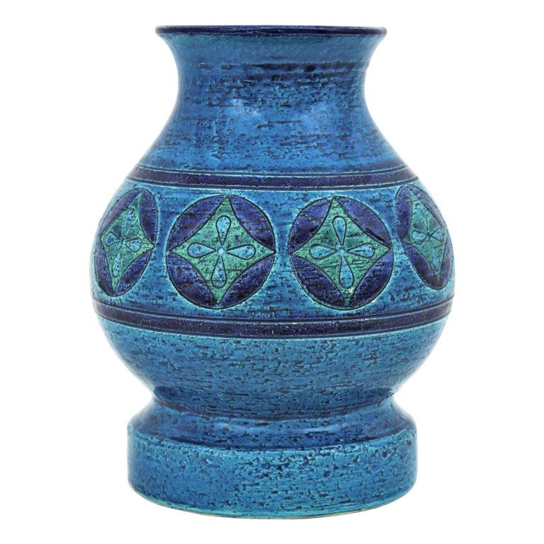 Aldo Londi for Bitossi Circles & Rhombus Design Blue Ceramic Footed Vase, 1960s For Sale