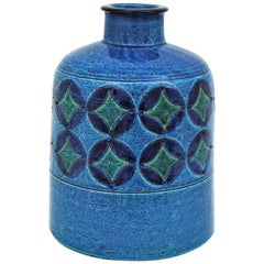 Aldo Londi for Bitossi Circles & Rhombus Design Blue Ceramic Large Bottle Vase