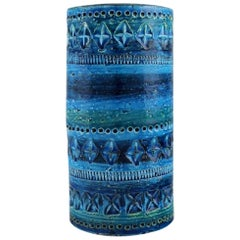 Aldo Londi for Bitossi, Cylindrical Vase in Rimini Blue Glazed Ceramics, 1960s