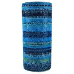Aldo Londi for Bitossi, Cylindrical Vase in Rimini Blue-Glazed Ceramics