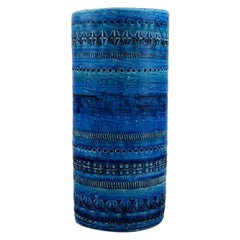 Aldo Londi for Bitossi, Cylindrical Vase in Rimini-Blue Glazed Ceramics