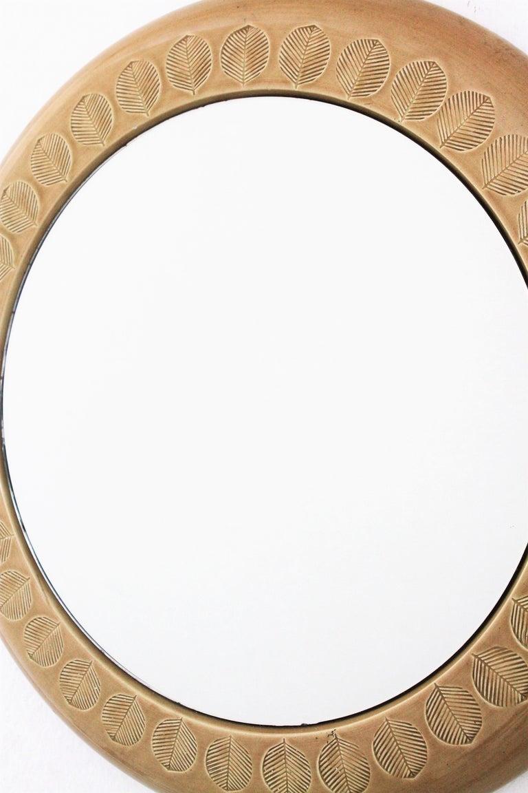 Aldo Londi Bitossi Beige Glazed Ceramic Round Wall Mirror with Leaf Motifs For Sale 4