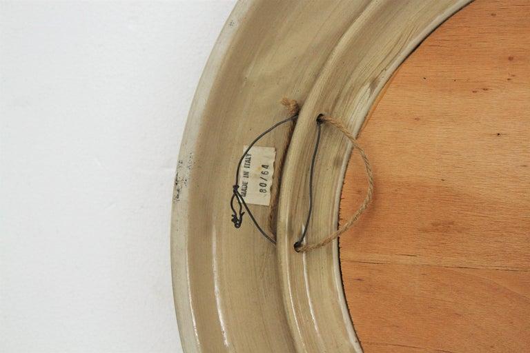 Aldo Londi Bitossi Beige Glazed Ceramic Round Wall Mirror with Leaf Motifs For Sale 5