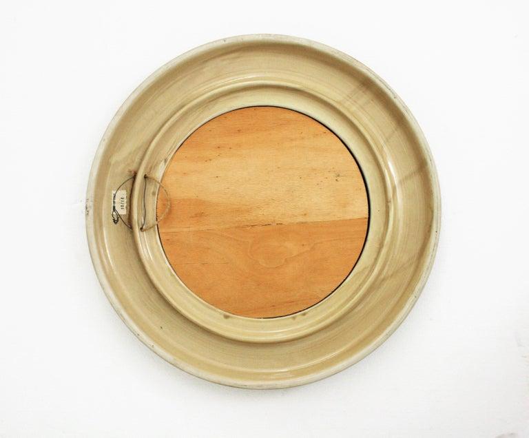 Aldo Londi Bitossi Beige Glazed Ceramic Round Wall Mirror with Leaf Motifs For Sale 6