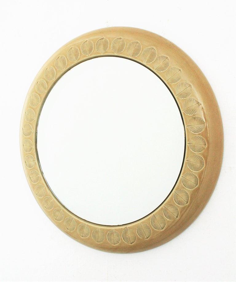 Aldo Londi Bitossi Beige Glazed Ceramic Round Wall Mirror with Leaf Motifs For Sale 7