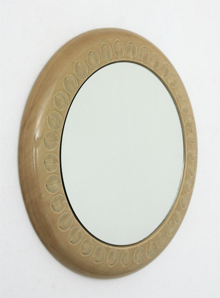 Mid-Century Modern Aldo Londi Bitossi Beige Glazed Ceramic Round Wall Mirror with Leaf Motifs For Sale
