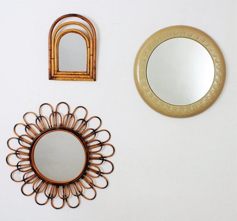 Italian Aldo Londi Bitossi Beige Glazed Ceramic Round Wall Mirror with Leaf Motifs For Sale