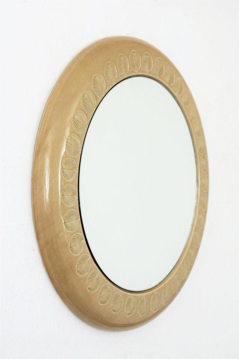 Aldo Londi Bitossi Beige Glazed Ceramic Round Wall Mirror with Leaf Motifs For Sale 1