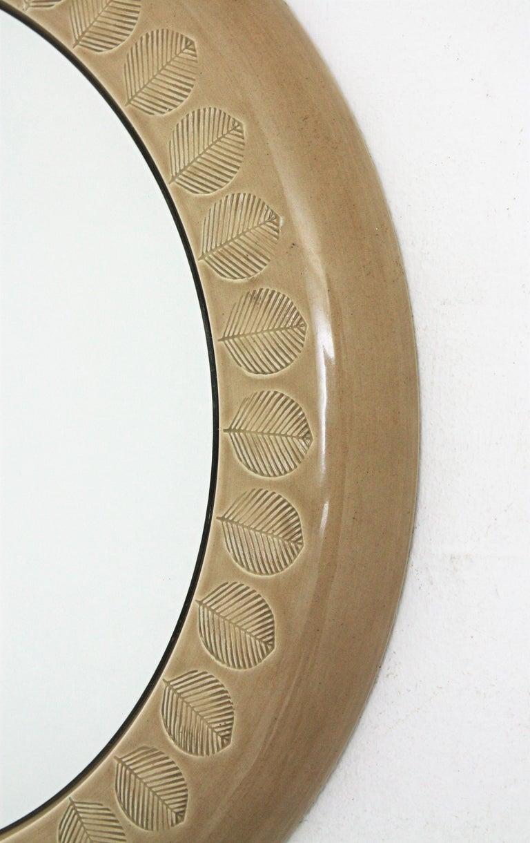 Aldo Londi Bitossi Beige Glazed Ceramic Round Wall Mirror with Leaf Motifs For Sale 2