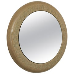 Aldo Londi for Bitossi Glazed Ceramic Round Wall Mirror with Leaf Motifs