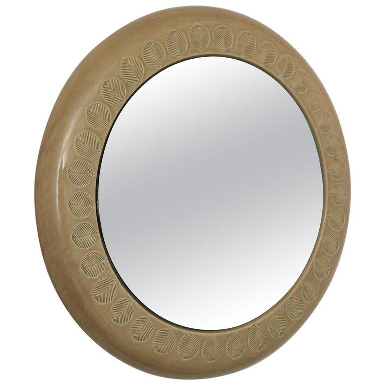 Aldo Londi Bitossi Beige Glazed Ceramic Round Wall Mirror with Leaf Motifs For Sale