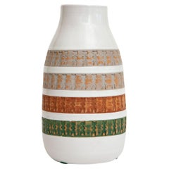 Aldo Londi for Bitossi Green, Tan, Rust Orange, Gray White Ceramic Vase Vessel