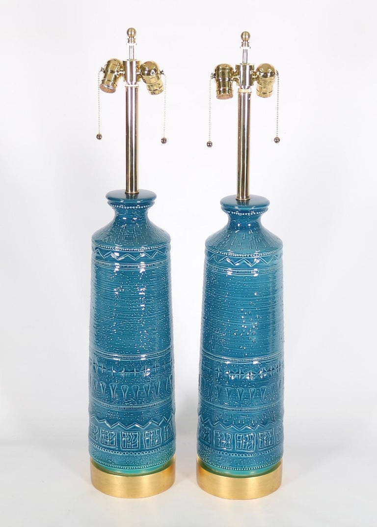 Italian Hollywood Regency Bittossi Style Lamps in Blue & Aqua Glazed Ceramic In Good Condition For Sale In New York, NY