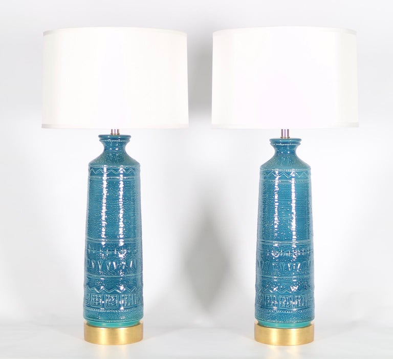 Mid-20th Century Italian Hollywood Regency Bittossi Style Lamps in Blue & Aqua Glazed Ceramic For Sale