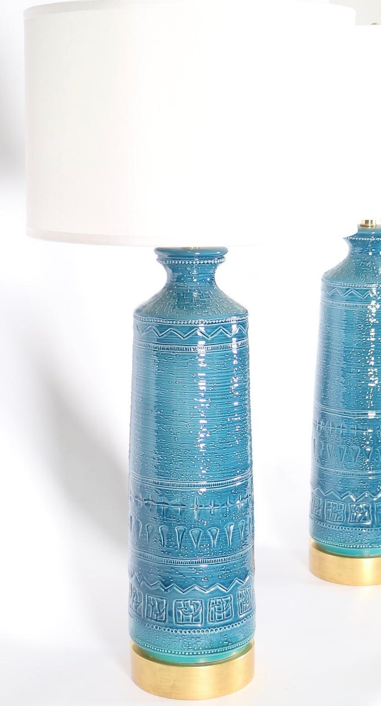 Italian Hollywood Regency Bittossi Style Lamps in Blue & Aqua Glazed Ceramic For Sale 2