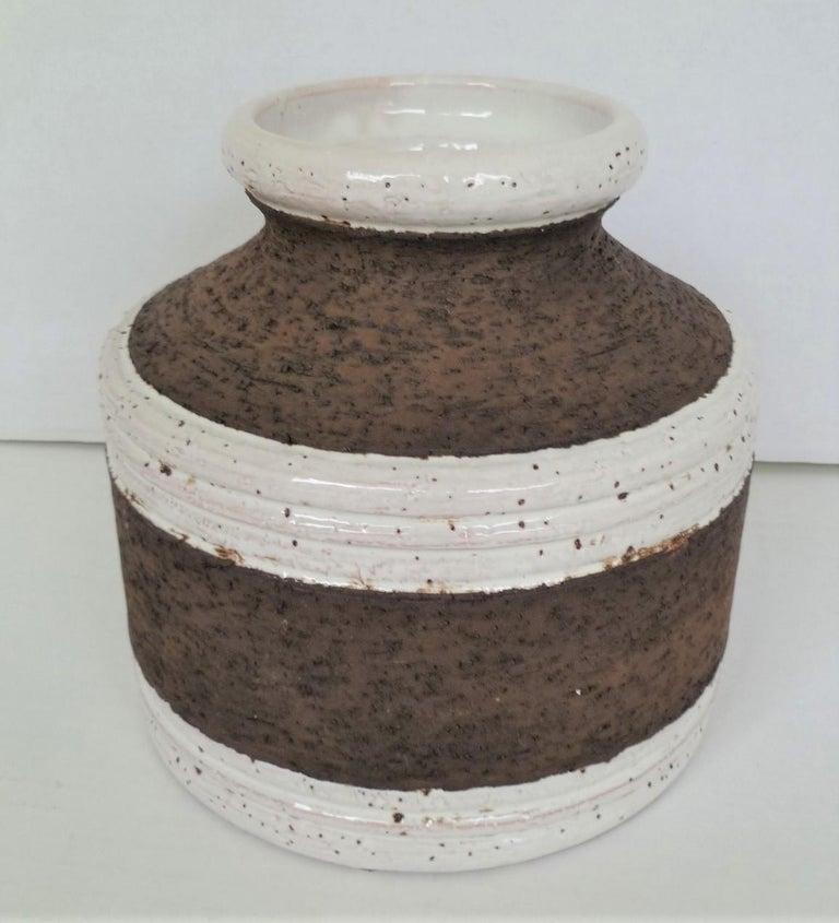 Mid-Century Modern Aldo Londi for Bitossi Italian Organic Modern Pottery Cork Vase for Raymor 1960s For Sale