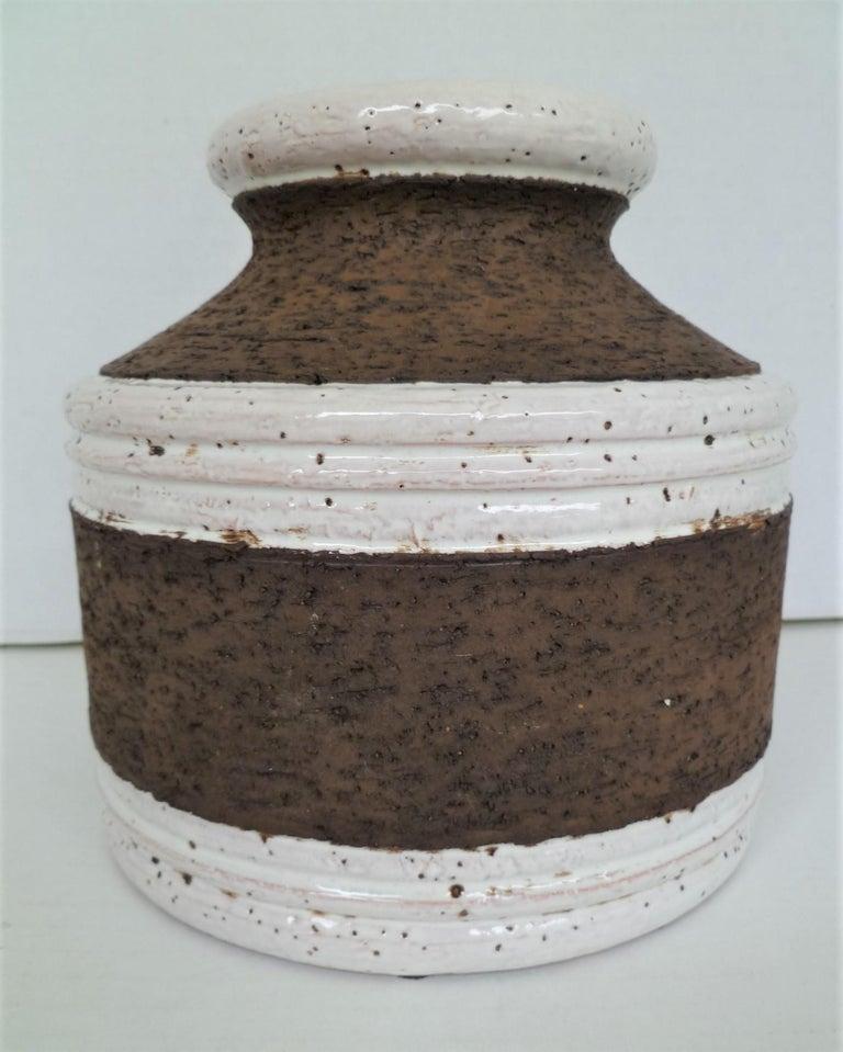 Aldo Londi for Bitossi Italian Organic Modern Pottery Cork Vase for Raymor 1960s In Good Condition For Sale In Miami, FL