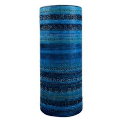 Aldo Londi for Bitossi, Large Cylindrical Vase in Rimini-Blue Glazed Ceramics