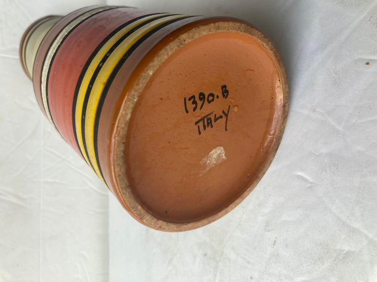 Very nice and colorful Londi, Cambogia striped ceramic / pottery vase. Marked. 1950/60.