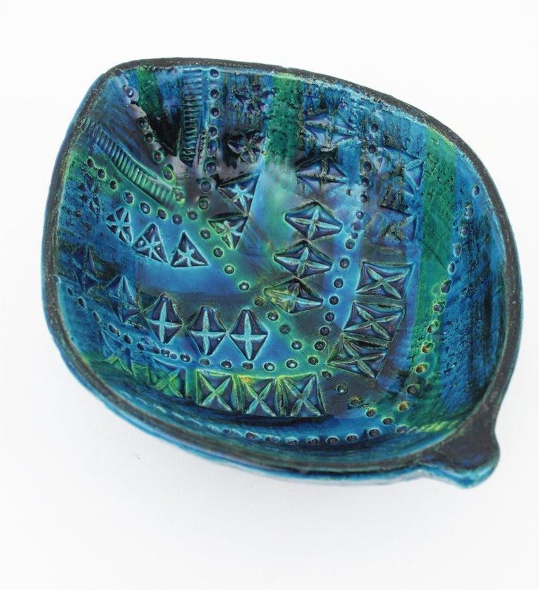Aldo Londi for Bitossi Rimini Blu Leaf Shaped Glazed Ceramic Bowl / Ashtray For Sale 4