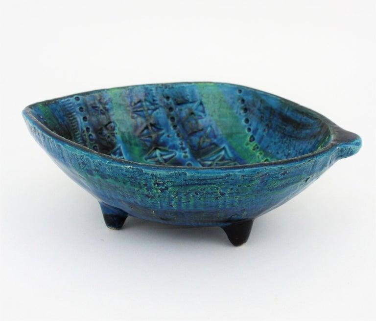 Aldo Londi for Bitossi Rimini Blu Leaf Shaped Glazed Ceramic Bowl / Ashtray For Sale 6